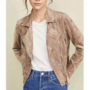 BLANKNYC Tan Brown Faux Suede Moto Jacket